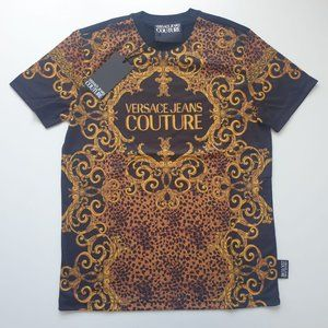 VERSACE MEN NEW COTTON BLACK PRINT SHIRT